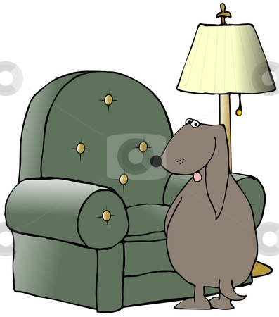 Dog Peeing On A Chair stock photo, This illustration depicts a dog peeing on a chair. by Dennis Cox