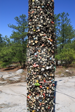 Gum Pole stock photo, Stone-mountain gum pole climbing stone mountain passer byes stick their chewing gum to this pole.  After so many years it becomes very colorful. by Jack Schiffer
