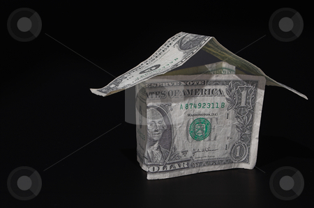 Money House stock photo, A house made out of one dollar bills - Realty / Investment Concept by Robert Byron