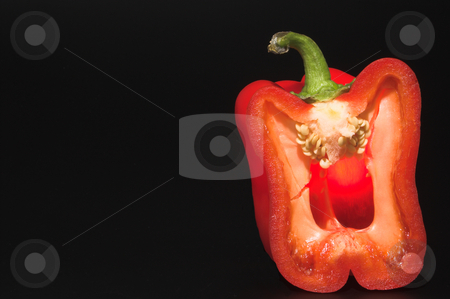 Red Bell Pepper stock photo, The cross section of a red bell pepper. by Robert Byron