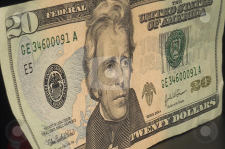 Twenty Dollars stock photo, A close-up of a twenty dollar bill. by Robert Byron