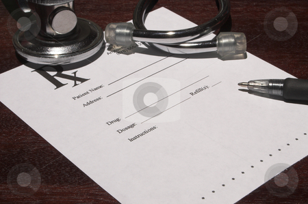 Prescription stock photo, A blank page from a doctor's medical prescription pad. by Robert Byron