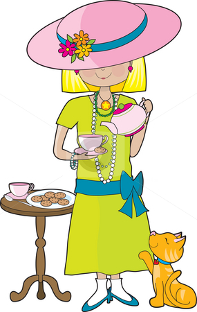 Abbey Dress Up  stock photo, Little girl dressed in her mother's clothes and pouring a cup of tea into a cup. A marmalade cat is looking up at her waiting for a treat. by Maria Bell