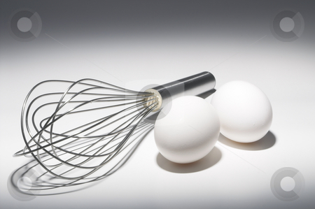 Eggs and Whisk stock photo, Farm fresh eggs and a mixing whisk. by Robert Byron