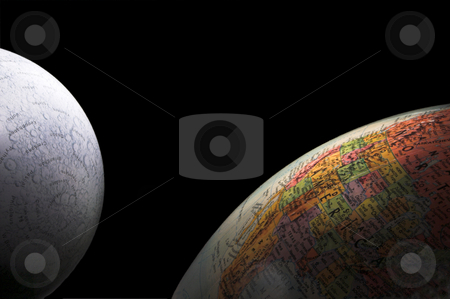 Earth and Moon stock photo, Globes - A rising crescent moon and Earth. by Robert Byron