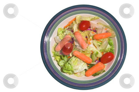 Garden Salad stock photo, A garden salad with lettuce, carrots and tomatoes. by Robert Byron