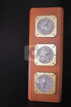 Weather Station stock photo, A weather station with a barometer, thermometer and a humidity gauge. by Robert Byron
