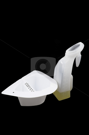 Toilet Insert and Female Urinal stock photo, A toilet insert and female urinal for the collection of urine samples. by Robert Byron