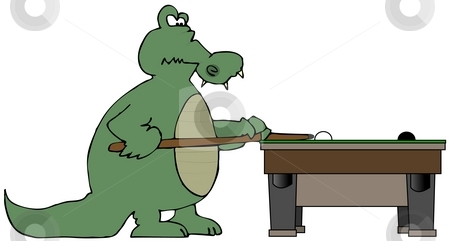 Gator Pool stock photo, This illustration depicts a cartoon alligator playing pool. by Dennis Cox