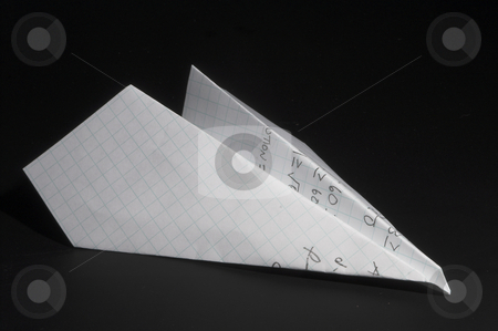 Paper Airplane stock photo, A paper airplane made out of a homework paper. by Robert Byron