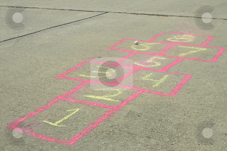 Hopscotch stock photo, The sidewalk drawing game board of the childhood game of hopscotch. by Robert Byron