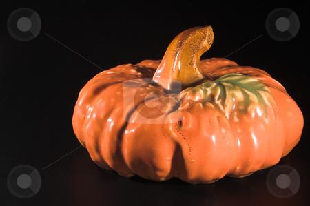 Ceramic Pumpkin stock photo, A ceramic pumpkin, harvest or halloween fall decoration. by Robert Byron