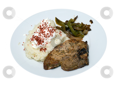 Isolated Pork Chop Supper stock photo, A pork chop and mashed potato supper, isolated on a white background by Richard Nelson