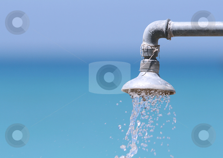 Shower stock photo, Shower against background out of focus by Kjell Westergren