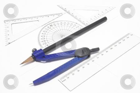 Geometry Supplies stock photo, A compass, protractor, trangles, and a ruler. by Robert Byron