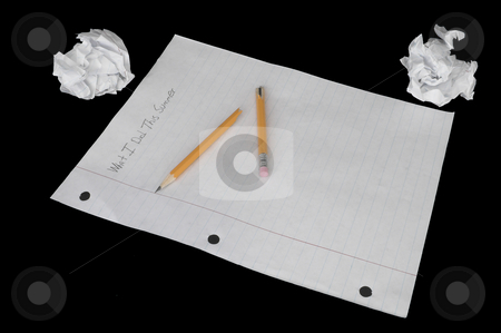 Summer Homework Paper stock photo, A student's summer homework assignment. by Robert Byron