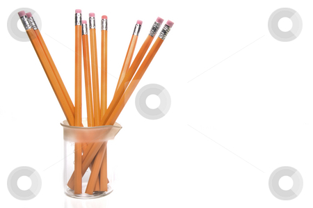 Science Class Pencils stock photo, Pencils in a scientific laboratory glass beaker. by Robert Byron