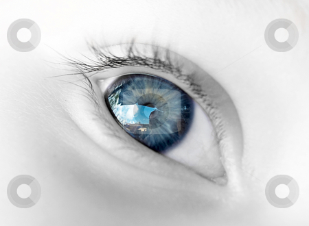 Blue Baby eye stock photo, Elegant closeup image of the sky reflected in a blue baby's eye by Adrian Costea