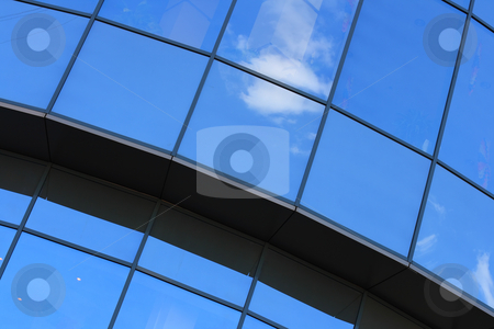 Blue windows stock photo, Blue sky reflected by semitransparent windows by Andrey Yanevich