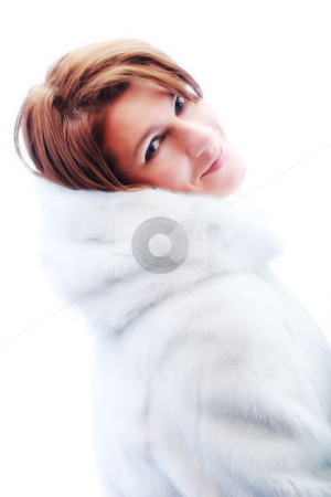 Young beautiful women in the fur stock photo, A studio shot of a young beautiful women in the fur (Snow Maiden) by Andrey Yanevich