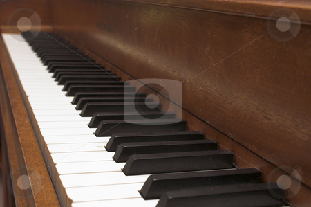 Piano stock photo, The white ivory and black keys of a piano. by Robert Byron