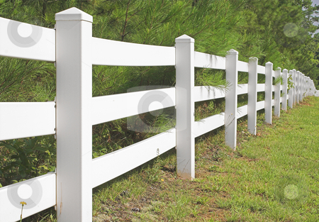 Split Rail Fence stock photo, A decorative white split rail fence. by Robert Byron