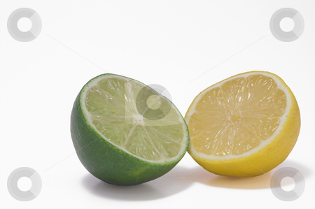 Lemon Lime stock photo, A yellow lemon and a gren lime. by Robert Byron