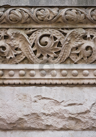 Carved Sandstone Cornice on Old Building stock photo, Old carving detail on building exterior, dirty from the elements by Mark S
