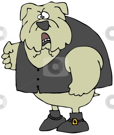 Angry Bulldog stock photo, This illustration depicts a bulldog wearing boots and a vest with a clenched fist. by Dennis Cox