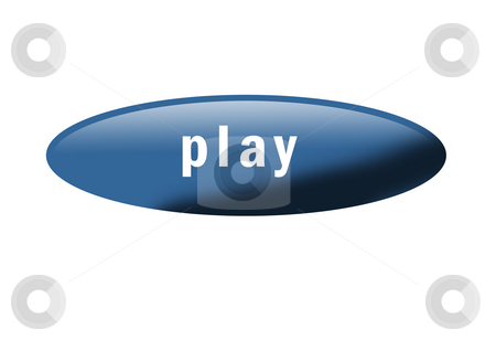 Play Button stock photo, Blue button with the word
