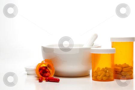 Prescription Medication stock photo, Prescription medicine bottles and a mortar and pestle. by Robert Byron