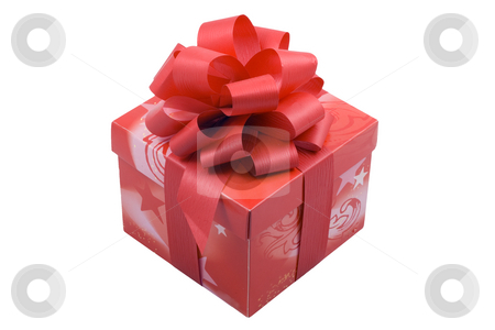 Red Present stock photo, A red present with a red ribbon isolated on the white background by Petr Koudelka