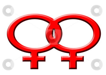 Lesbian stock photo, Red symbol of lesbian women on the white background by Petr Koudelka
