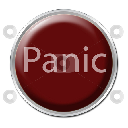 Panic Button stock photo, Red button with the word