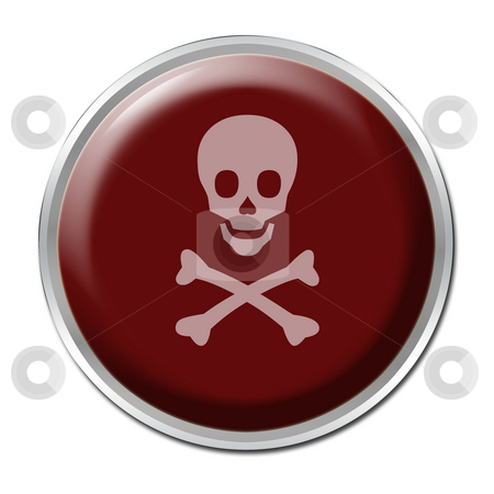 Skull Button stock photo, Red button with a picture of a skull by Petr Koudelka