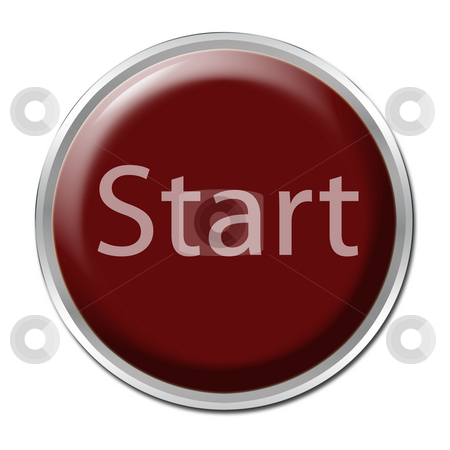 Start Button stock photo, Red button with the word