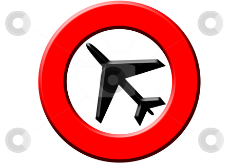 Attention - Planes stock photo, A red sign meaning