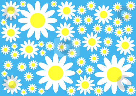 Floral Background stock photo, White and yellow flowers on the blue background by Petr Koudelka