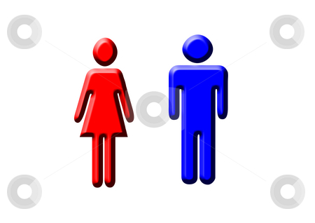 Man and Woman stock photo, A blue and red pictogram of a man and a woman by Petr Koudelka