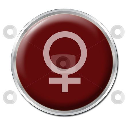 Female Button stock photo, Red button with the symbol of a woman by Petr Koudelka