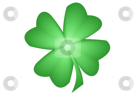 Quarterfoil stock photo, An illustration of a green quarterfoil on the white background by Petr Koudelka