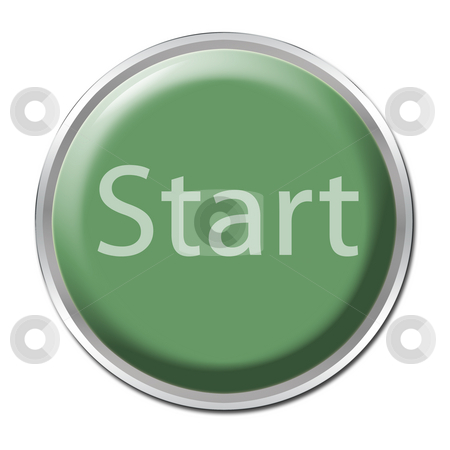 Start Button stock photo, Green button with the word
