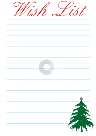 Wish List - Christmas stock photo, A wish list decorated with a christmas tree - background by Petr Koudelka