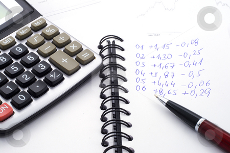 Calculations stock photo, Difficult financial calculations - economics background - close up by Petr Koudelka