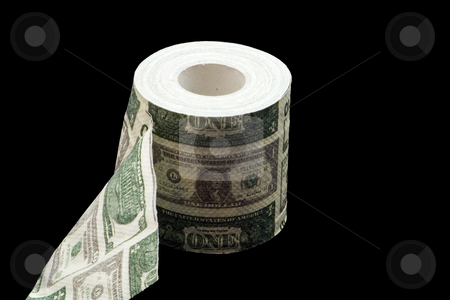 American Toilet Paper stock photo, Roll of toilet paper with USD by Petr Koudelka