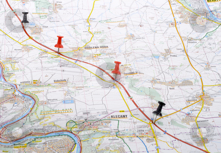 Planned Trip stock photo, A trip planned on the map - close up by Petr Koudelka
