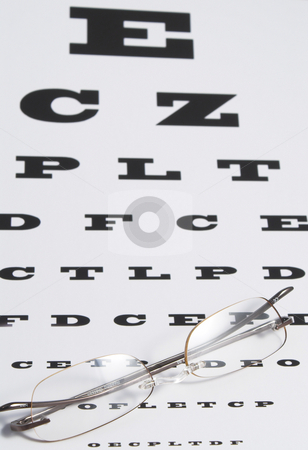 Vision Care stock photo, Vision Care Concept - a pair of glasses and eye chart. by Robert Byron