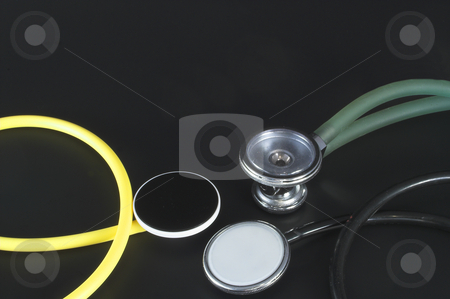 Several Stethoscopes stock photo, A colection of different styles of medical stethoscopes. by Robert Byron