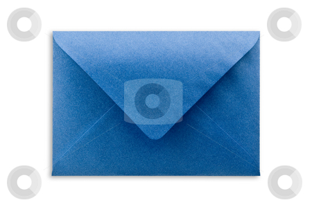 Blue envelope isolated, path provided. stock photo, Blue envelope on white background, close up, studio shot. by Pablo Caridad