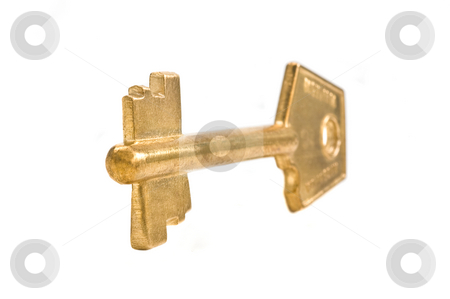 Bronze key isolated. stock photo, Bronze key close up, on white background. by Pablo Caridad